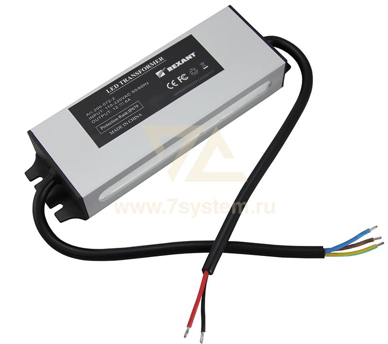 Источник питания 72 Вт Neon-Night, 12 В, с проводами, влагозащищенный.